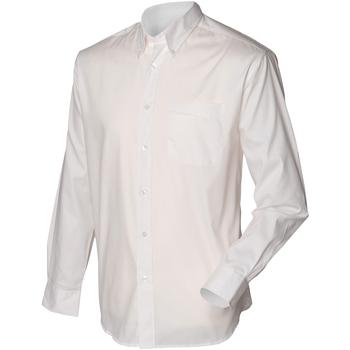 Vêtements Homme Chemises manches longues Henbury Oxford Blanc