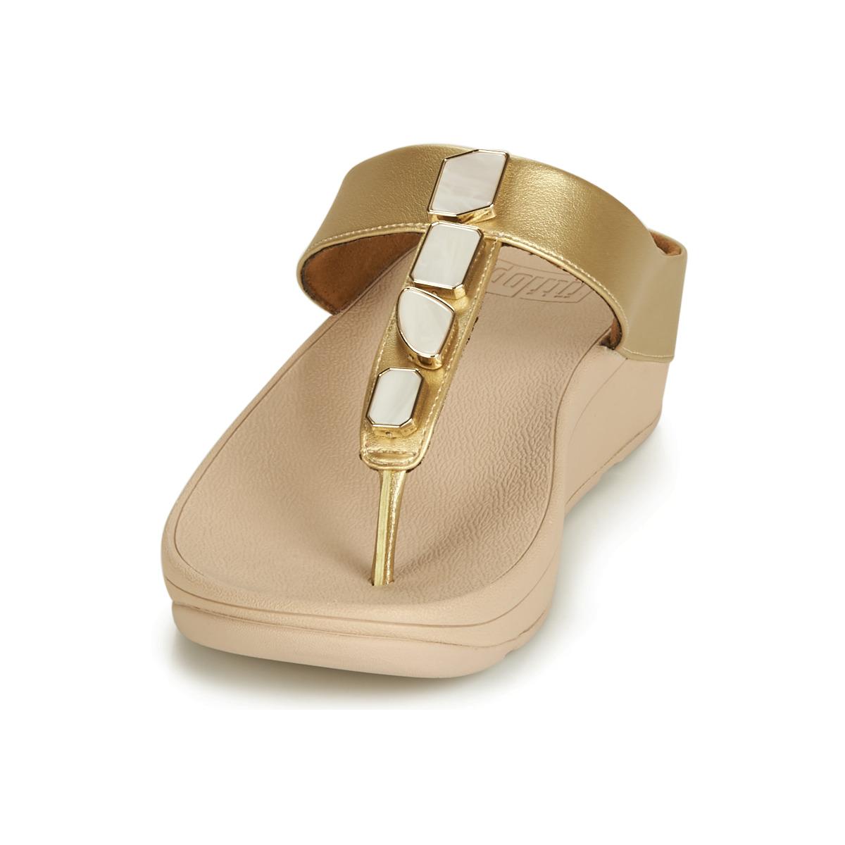 Fitflop Fino Shellstone Doré - Livraison Gratuite Chaussures Tongs Femme 90,20 €