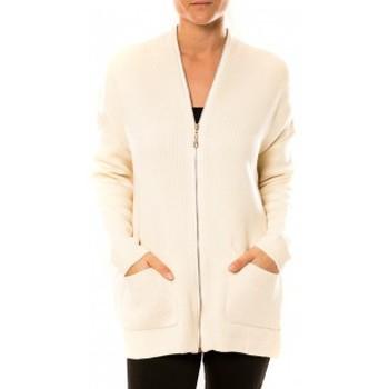 Vêtements Femme Gilets / Cardigans Tcqb Gilet Lely Wood L586 Blanc Blanc