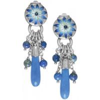 Montres & Bijoux Femme Boucles d'oreilles Franck Herval BO poussoir top bleu & pampilles 38