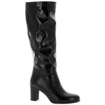 Chaussures Femme Bottes ville Fremilu Bottes cuir vernis Noir