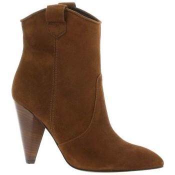 Chaussures Femme Bottes ville Fremilu Boots cuir velours Cognac