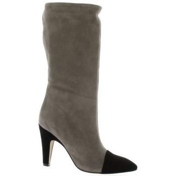 Chaussures Femme Bottes ville Fremilu Bottes cuir velours Noir/taupe
